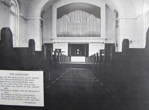 The center aisle of the sanctuary of the Highland Park Congregational Church